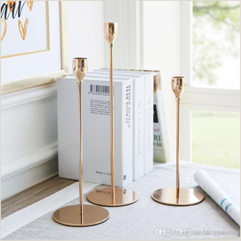 Banner Sign Holders Nordic Style Metal Candle Holders Simple Golden Wedding Decoration Bar Party Living Room Decor Home Decor Candlestic Enclosed Candle Holders Fall