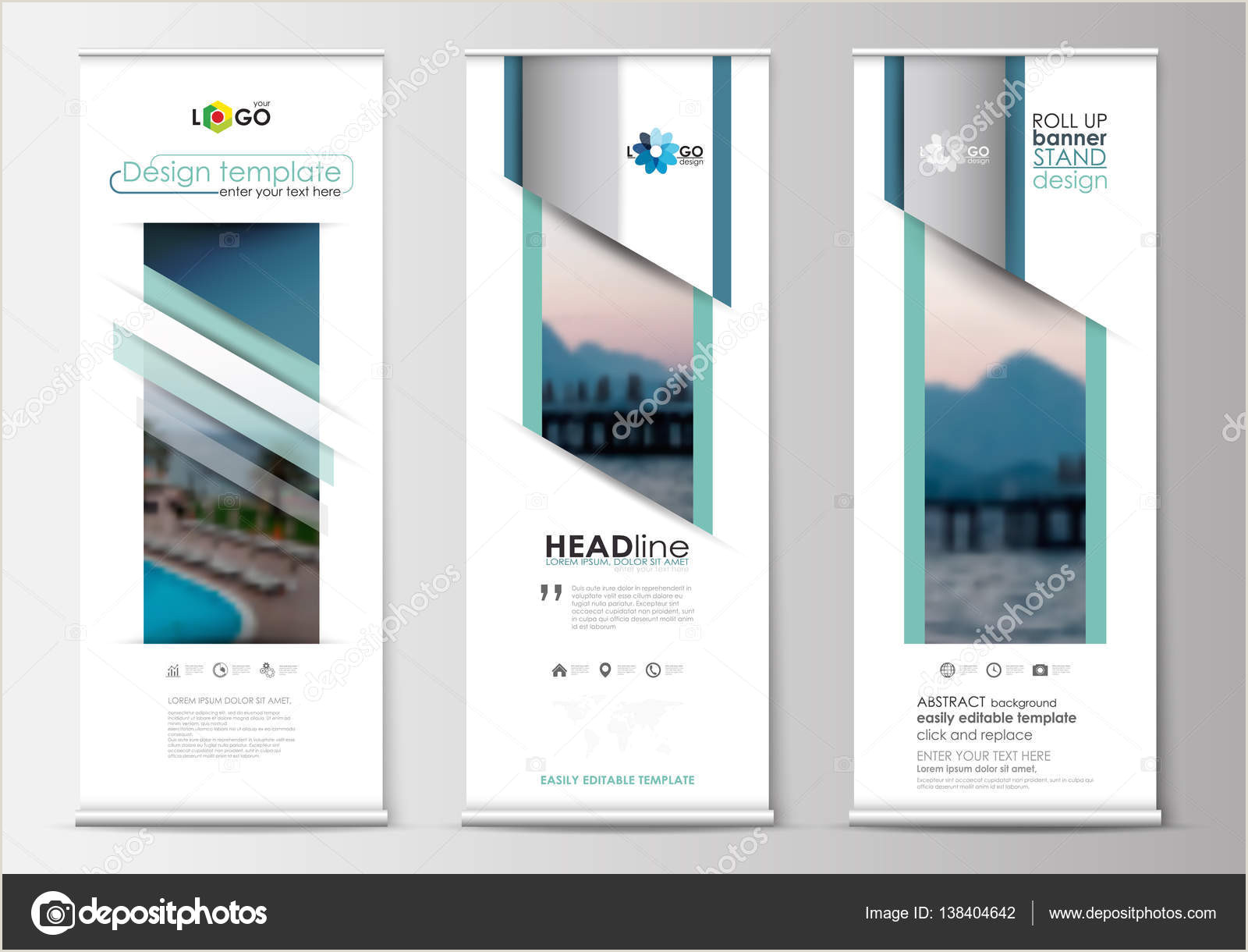 Banner Stand Design Roll Up Banner Stands Flat Design Abstract Geometric Templates Modern Business Layouts Corporate Vertical Vector Flyers Blue Color Travel