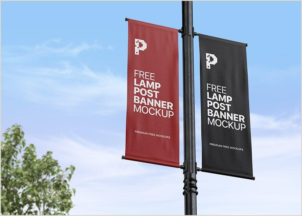Banner Stand Horizontal Lamp Post Banner Mockup Psd Free