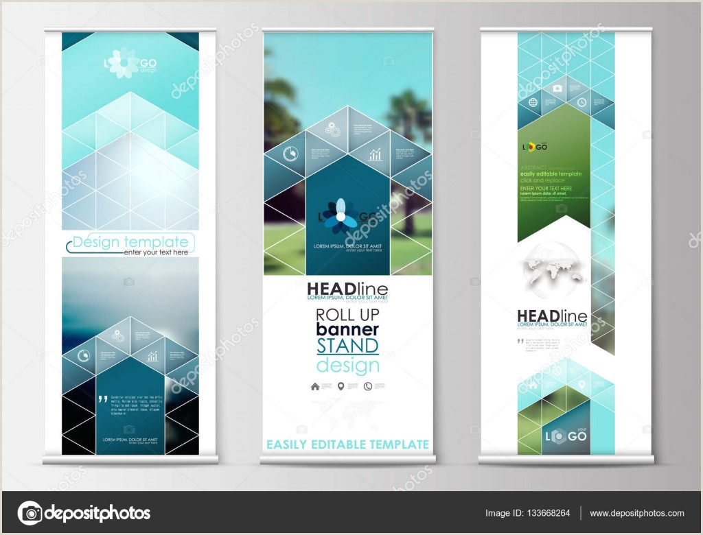 Banner Stand Horizontal Roll Up Banner Stands Flat Design Abstract Geometric Templates Modern Business Layouts Corporate Vertical Vector Flyers Blue Color Travel