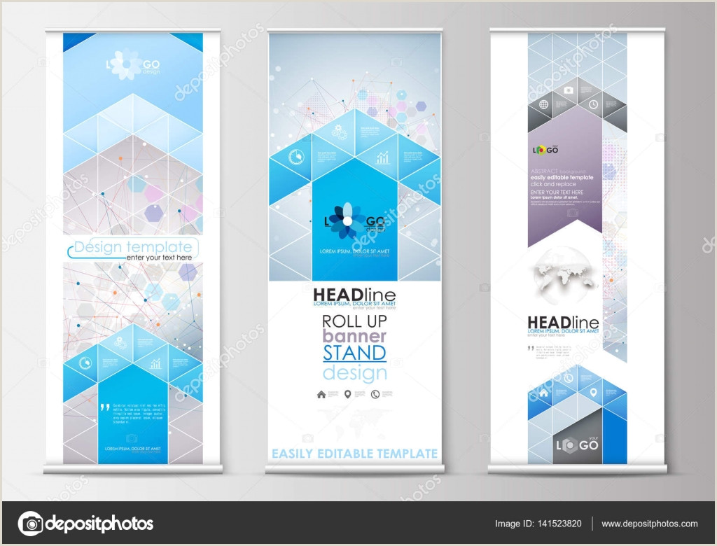 Banner Stand Horizontal Set Of Roll Up Banner Stands Flat Design Templates Abstract Geometric Style Business Concept Corporate Vertical Flyers Molecule Structure On