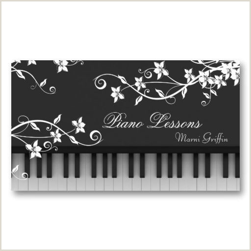 Best Business Cards For Piano Teacher Piano Teacher Lessons Business Card Floral Swirl