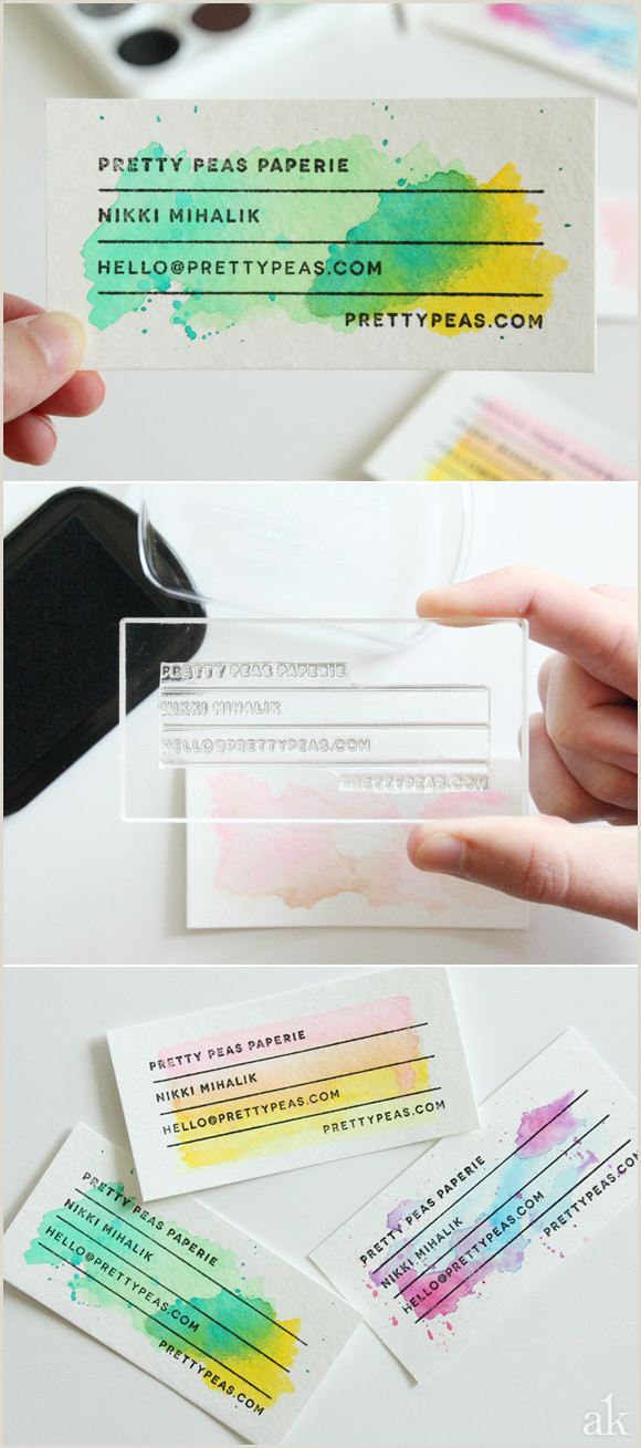 Best Business Cards For Watercolor Artists Diy Stamped Watercolor Business Cards — Creative Brands For