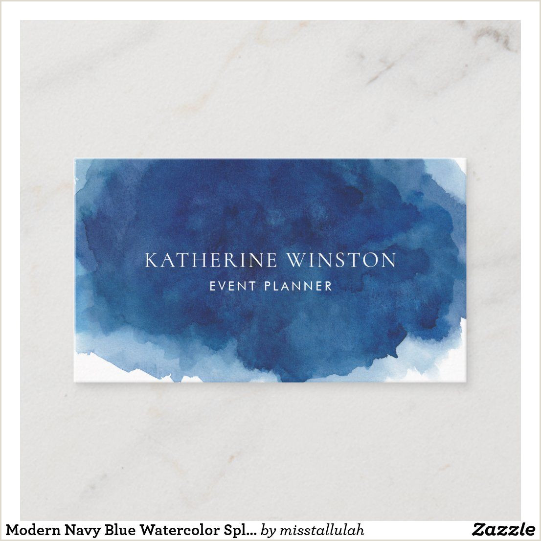 Best Business Cards For Watercolor Artists Modern Navy Blue Watercolor Splash Background Business Card