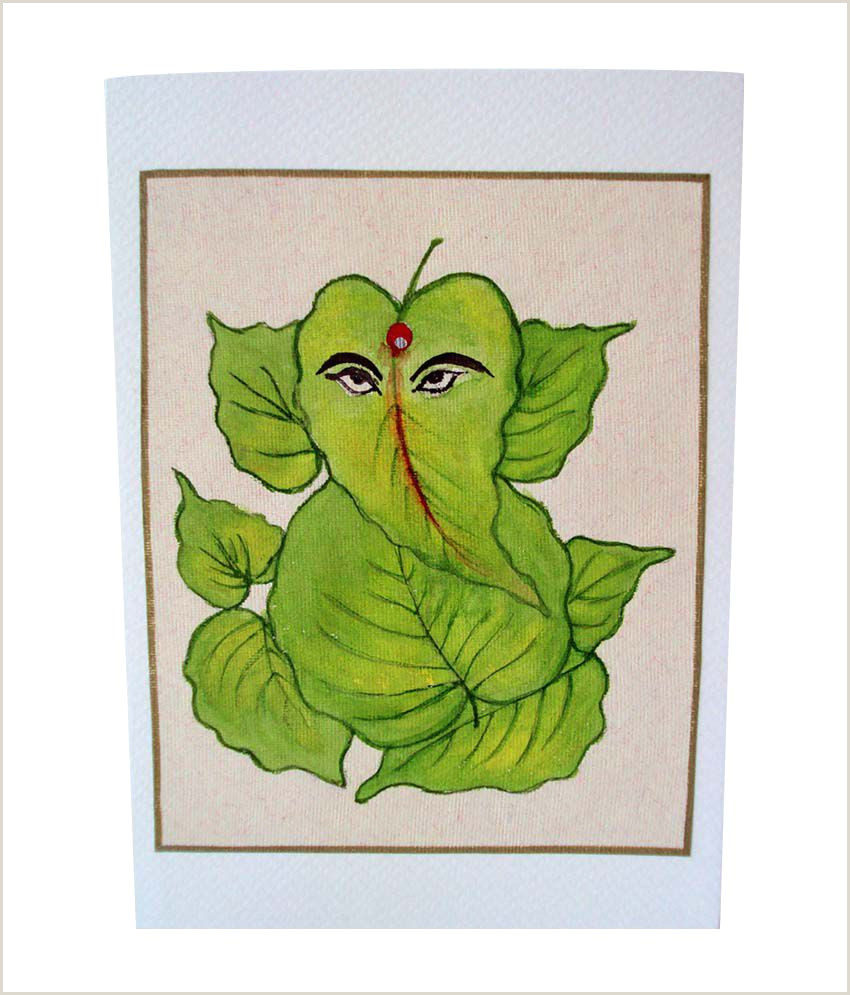 Best Business Cards For Watercolor Artists Singhroha Art Green Leaf Ganesha Watercolor Greeting Card