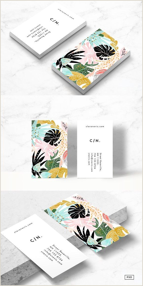 Best Business Cards For Watercolor Artists Tropical Business Card Template