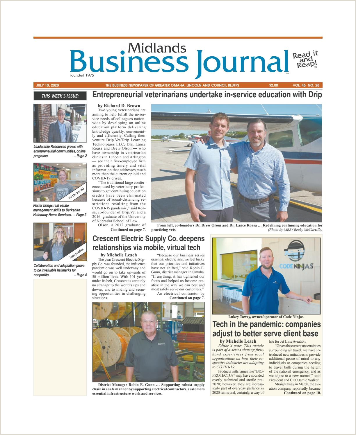 Best Business Cards In Omaha Midlands Business Journal July 10 2020 Vol 46 No 28 Issue