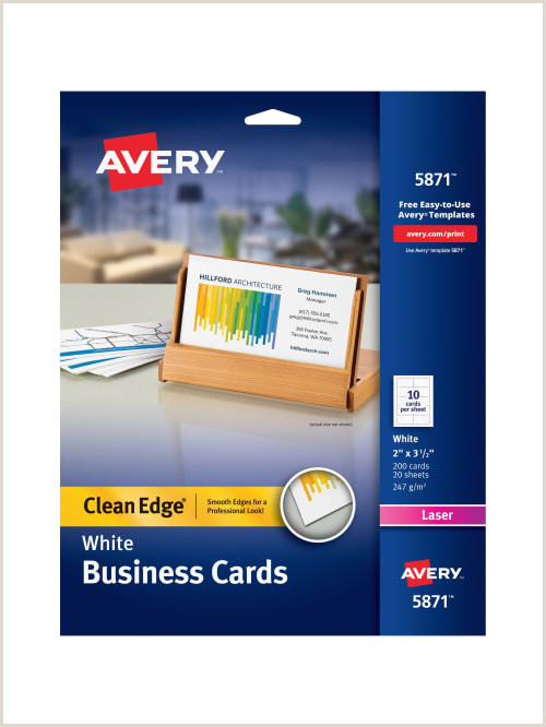 """Best Business Cards Printing Avery Dennison Avery Laser Clean Edge Two Side Printable Business Cards 2"""" X 3 1 2"""" White Pack 200 Item"""