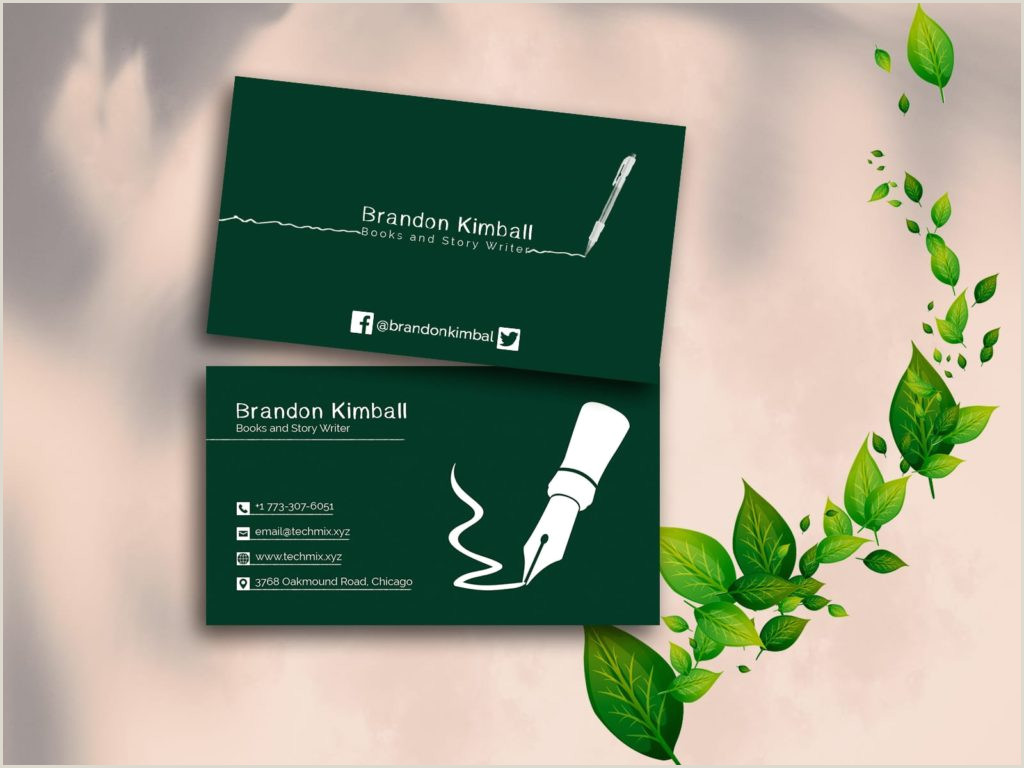 Best Business Cards Writer 5 Best Writer S Business Cards 2020