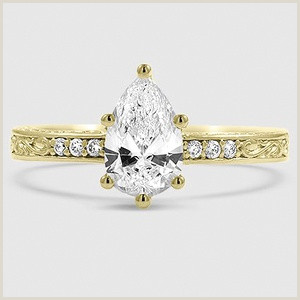 Best Gold Business On Earth 18k White Gold Delicate Antique Scroll Diamond Ring