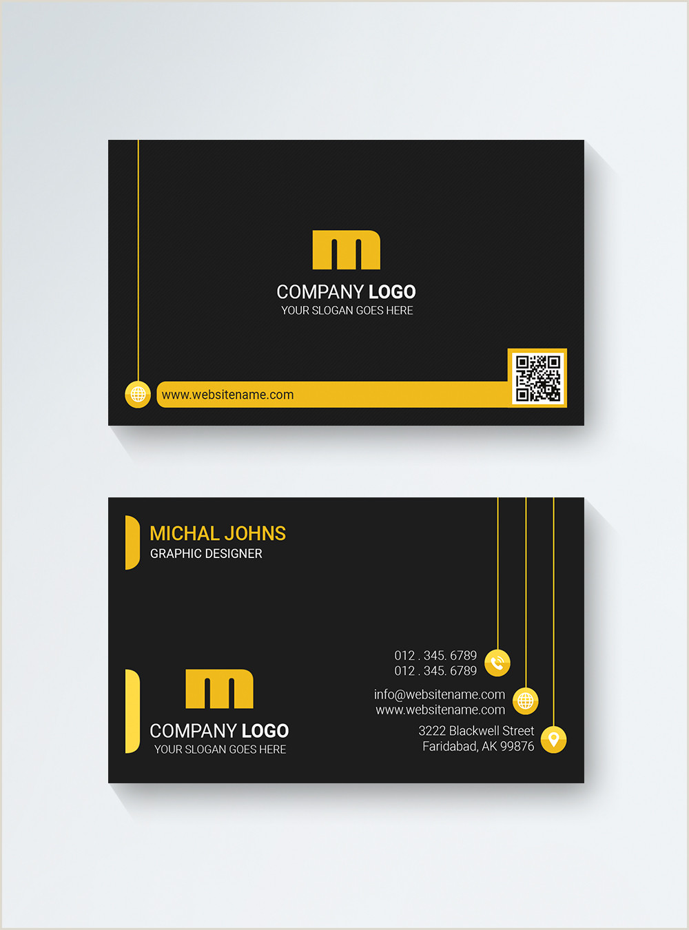Black And Yellow Business Cards Black And Yellow Pany Business Card Template