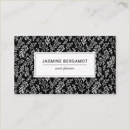 Black Business Card Background Black And White Foliage Pattern Business Card