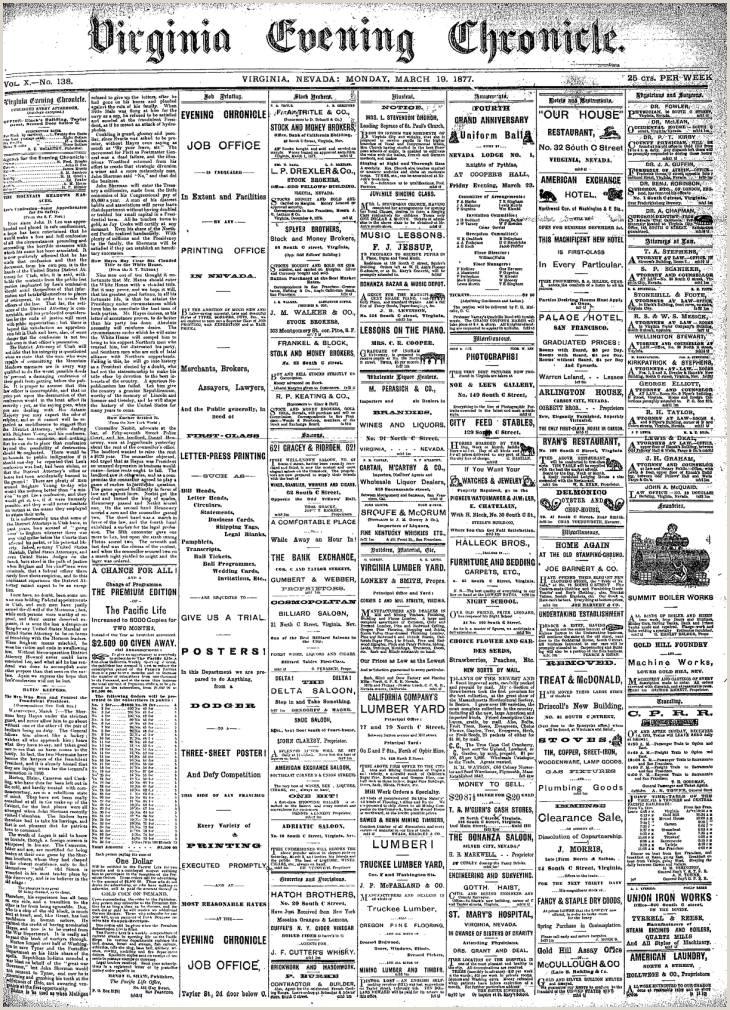 Bthe Best Business Cards 1877 03 19 Virginia Evening Chronicle Virgnia Evening