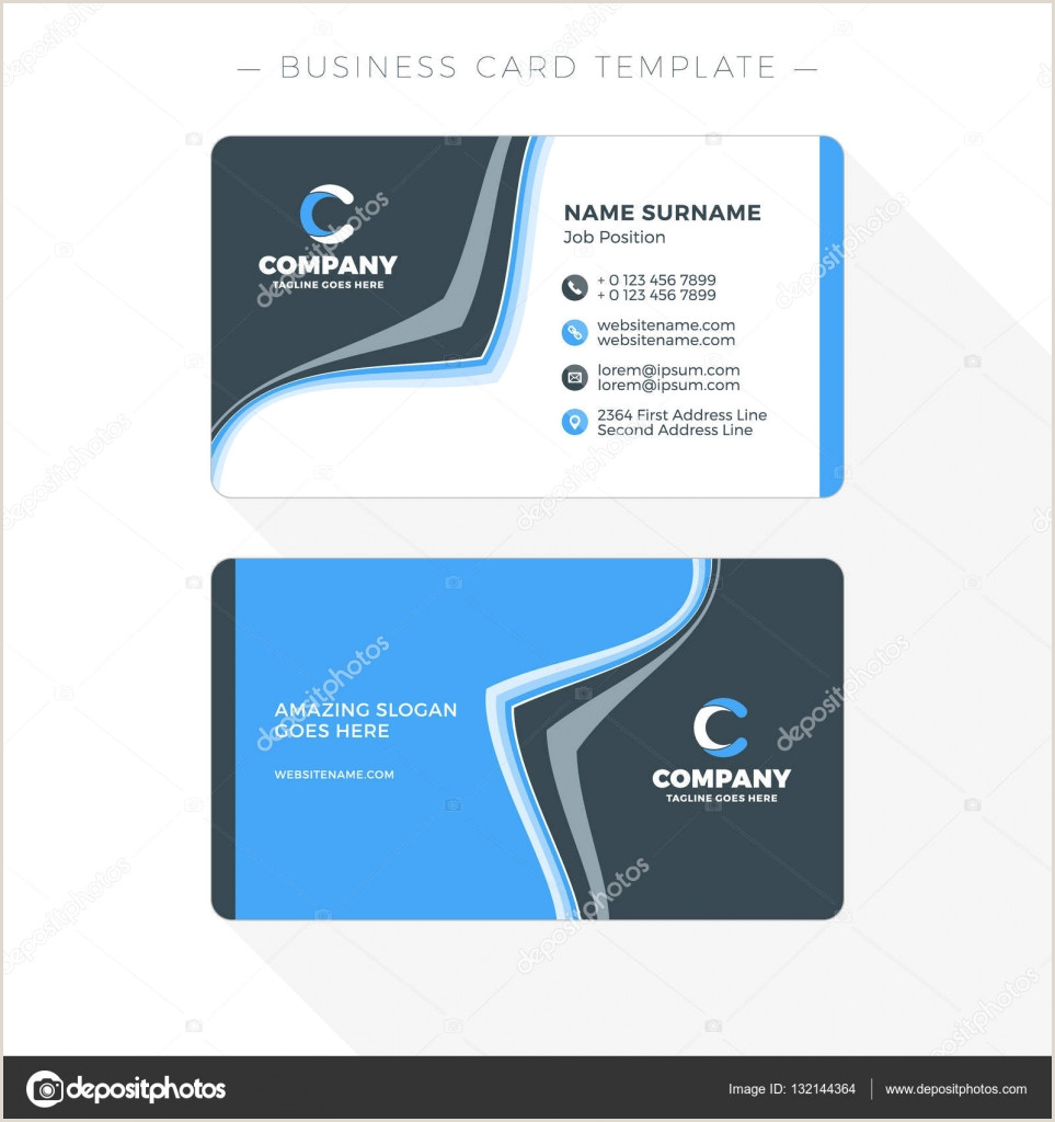 Business Card Back Design Double Sided Business Card Template With Abstract Blue And Black Waves Background Vector Illustration Stationery Design
