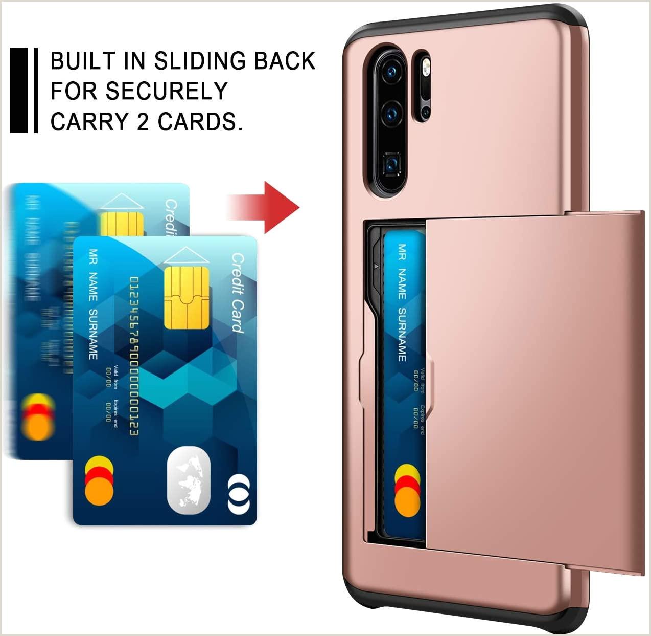 Business Card Back Side Coolden For Huawei P30 Pro Case Armor Shockproof Case For Huawei P30 Pro Wallet Case Cover Protective Case Rubber Bumper Card Holder Slot Wallet Case