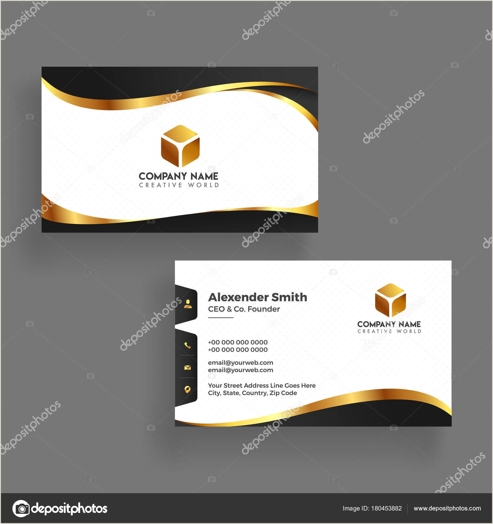 Business Card Back Side Modern Business Card Template Design Both Sided Contact Card F