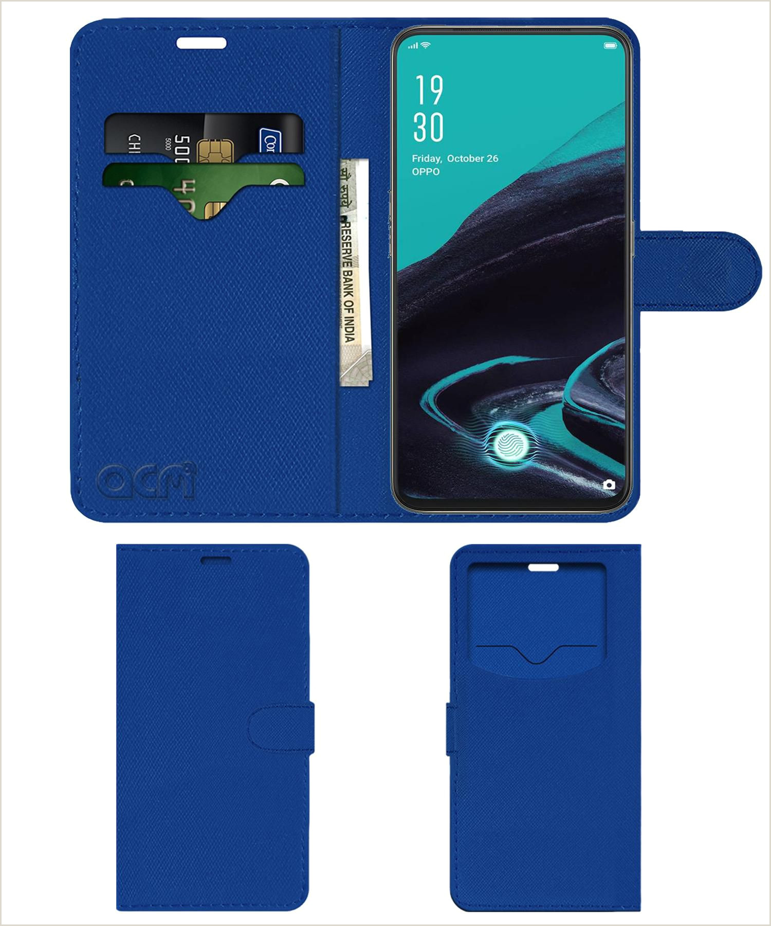 Business Card Back Side Oppo Reno 2 Flip Cover By Acm Blue Wallet Case Can Store 2