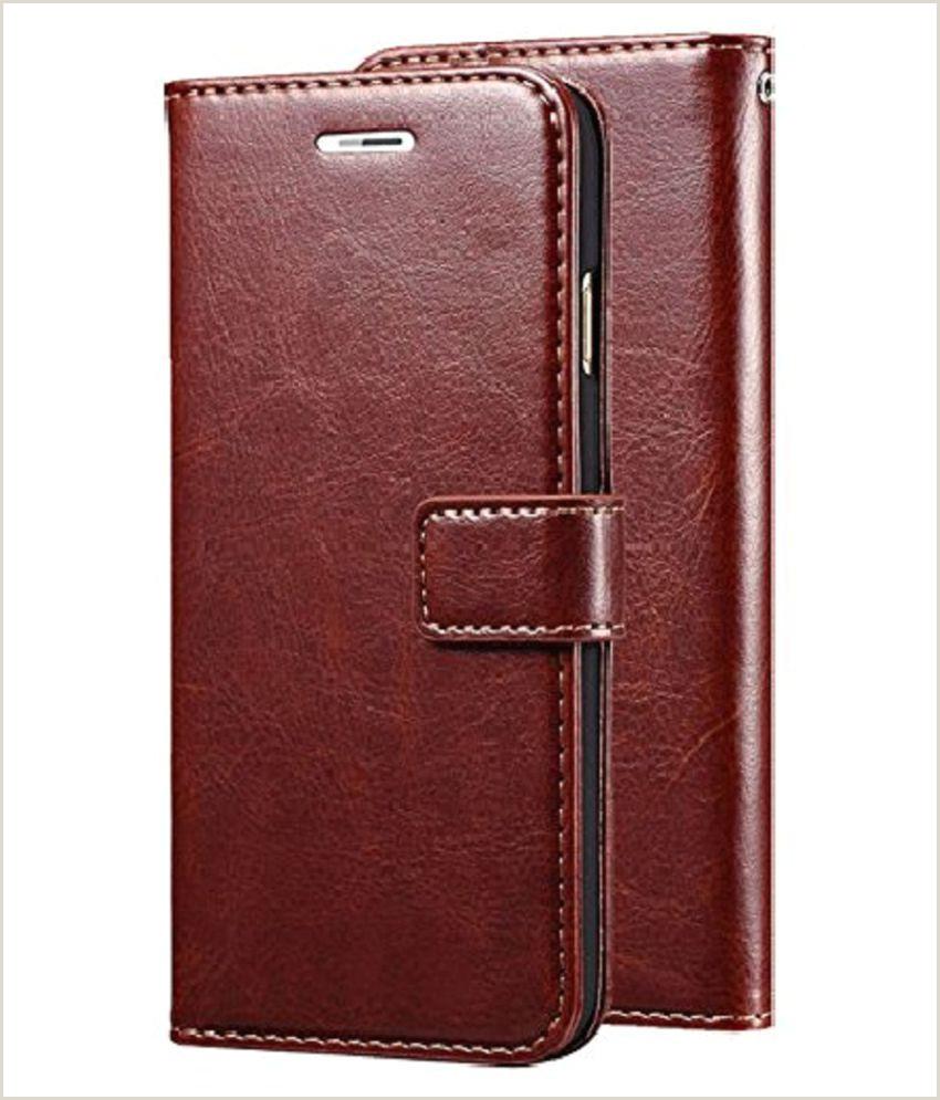 Business Card Back Side Vivo Y91 Flip Cover By Kovado Brown Original Vintage Look Leather Wallet Case