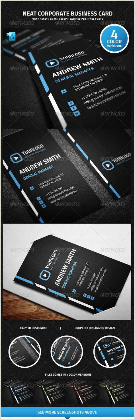 Business Card Color Schemes Neat Corporate Business Card 26