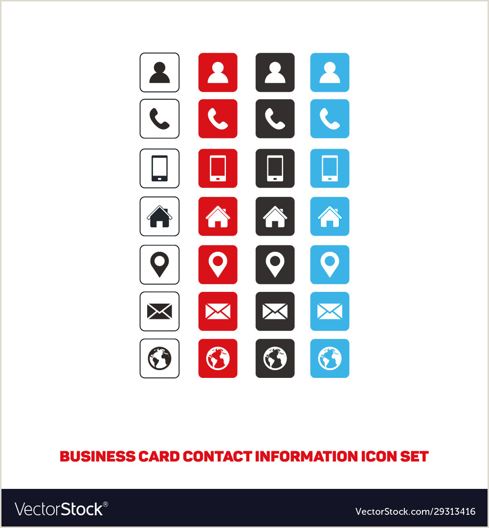 Business Card Contact Info Business Card Icons Set For Graphics Designer Web Vector Image