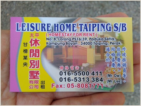 Business Card Contact Info Business Card Picture Of Leisure Home Taiping Tripadvisor