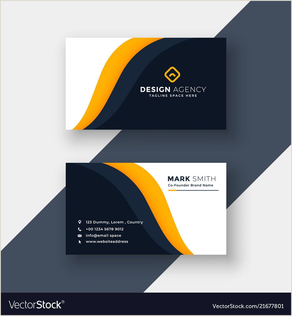Business Card Info Awesome Yellow Business Card Template In Visiting Card