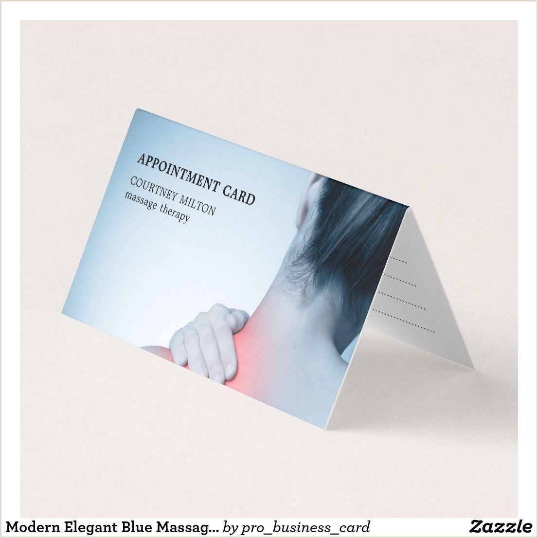 Business Card Pinterest Modern Elegant Blue Massage Therapist Appointment