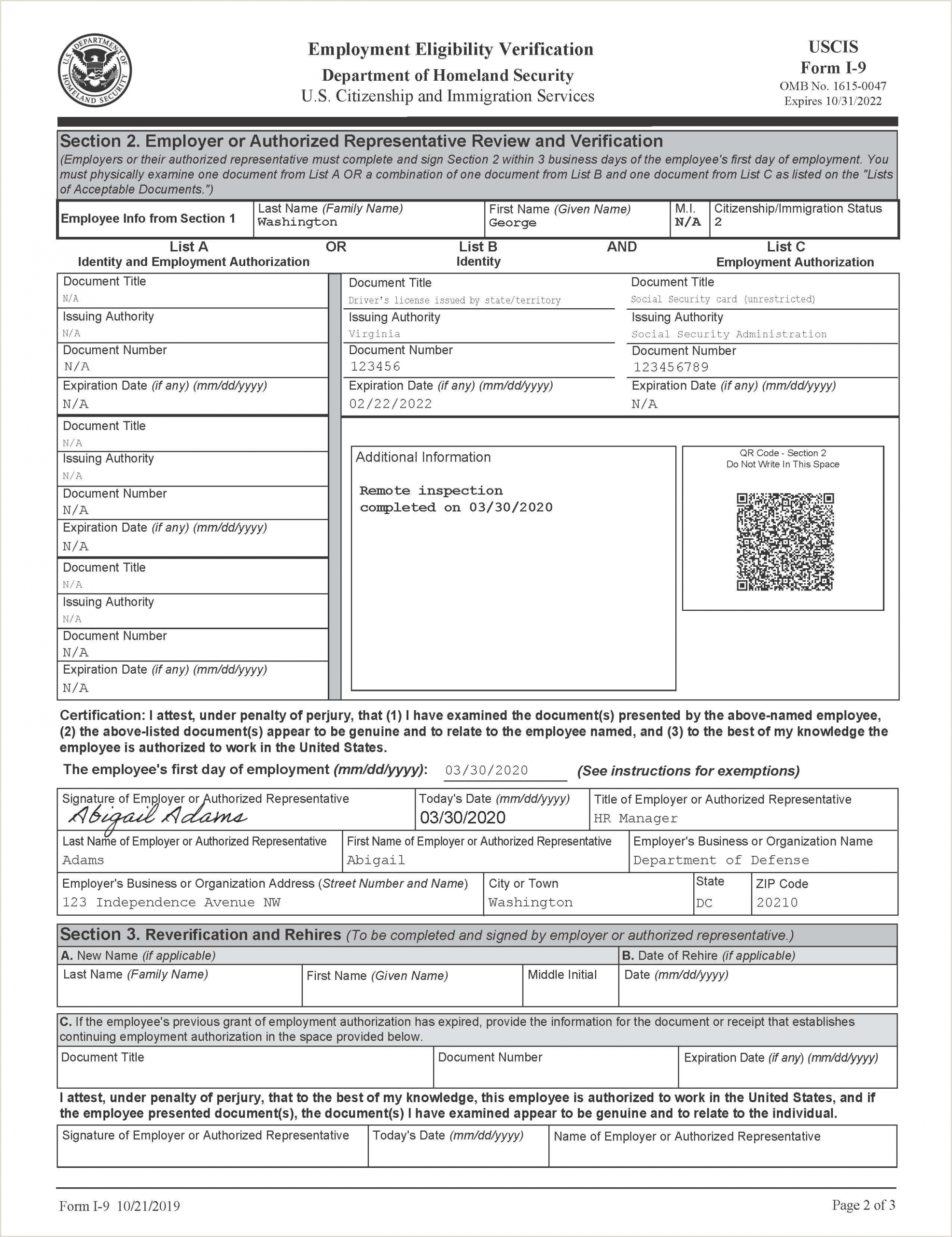 Business Card Title Examples Uscis Provides Form I 9 Mockups To Illustrate Temporary