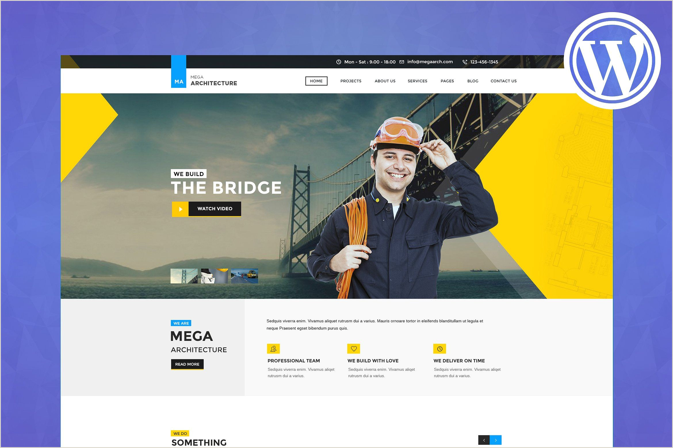 Business Card Website Template Mega Architecture WordPress Theme Style Click Change