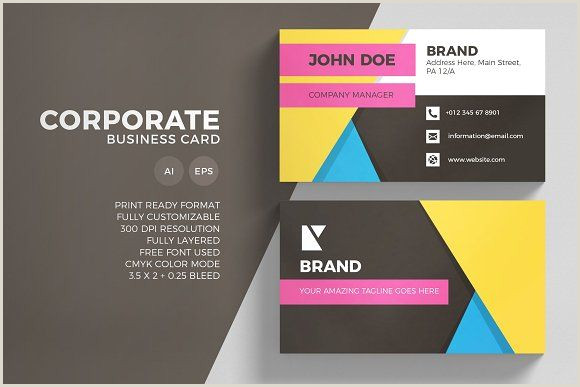 Business Card With 2 Addresses Corporate Business Card Template