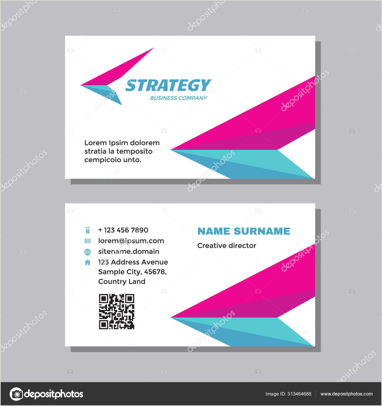 Business Card With Logo Business Visit Card Template With Logo Concept Design Wing Delivery Brand Vector Illustration