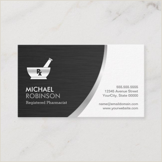 Business Card With Logo Pharmacy Pharmacist Logo Modern Black Silver Business Card