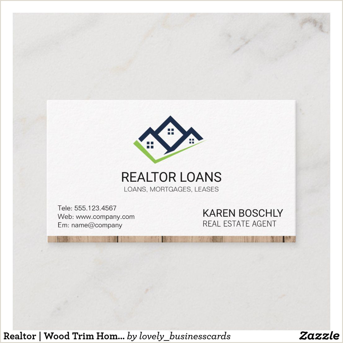 Business Cards At Home Realtor Wood Trim Home Icon 2 Business Card