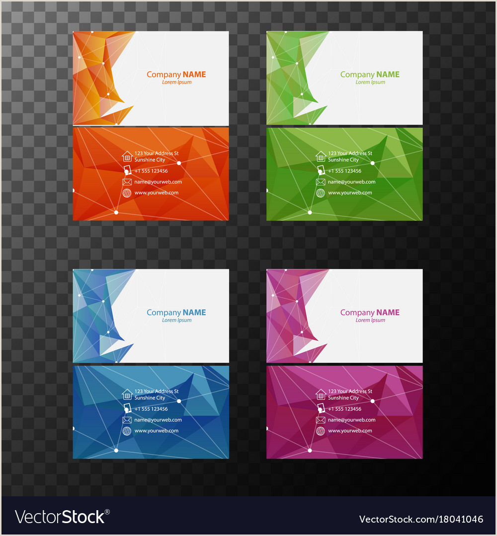 Business Cards Back And Front Four Businesscard Templates With Front And Back