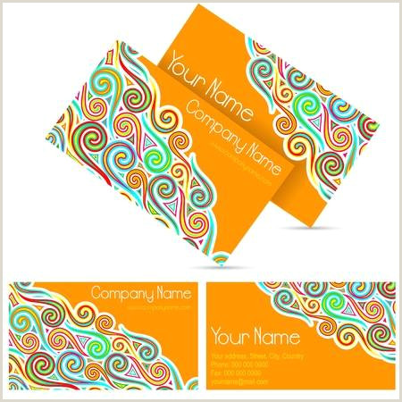 Business Cards Back And Front Illustration Front And Back Colorful Visiting Card
