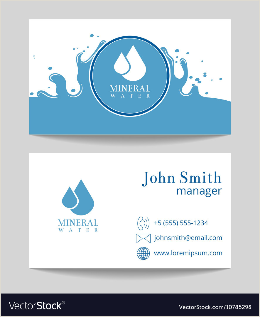 Business Cards Beautiful Unique Nature Water Mineral Water Delivery Business Card Template Vector Image