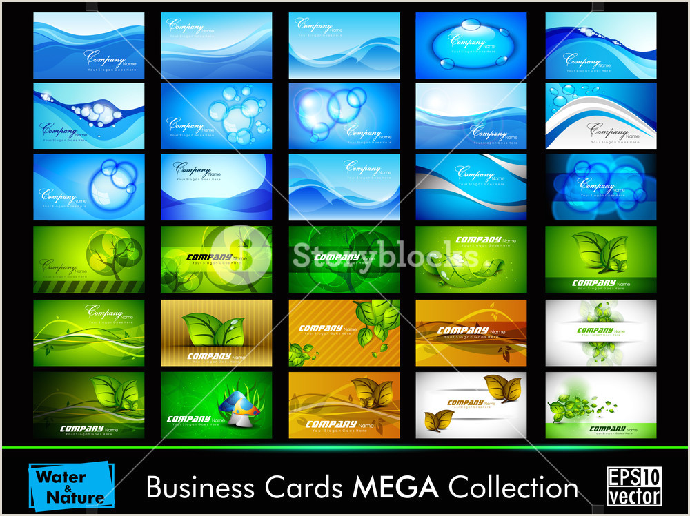 Business Cards Beautiful Unique Nature Water Nature And Water Business Card Set Royalty Free Stock Image