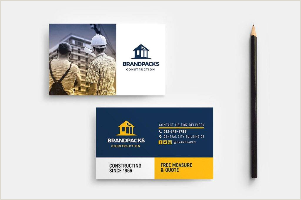 Business Cards For Construction Unique 20 Construction Business Card Designs And Examples Psd