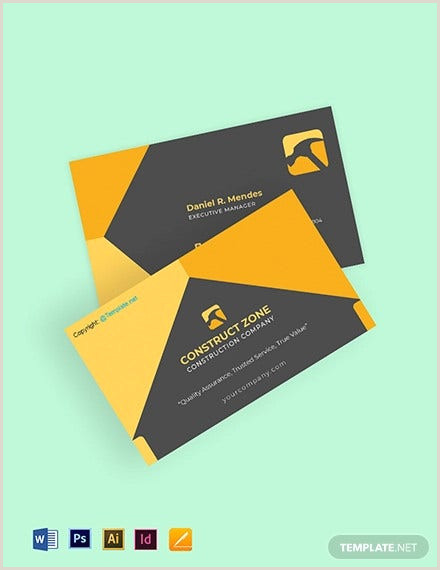 Business Cards For Construction Unique 35 Free Construction Business Template Ms Word Coreldraw