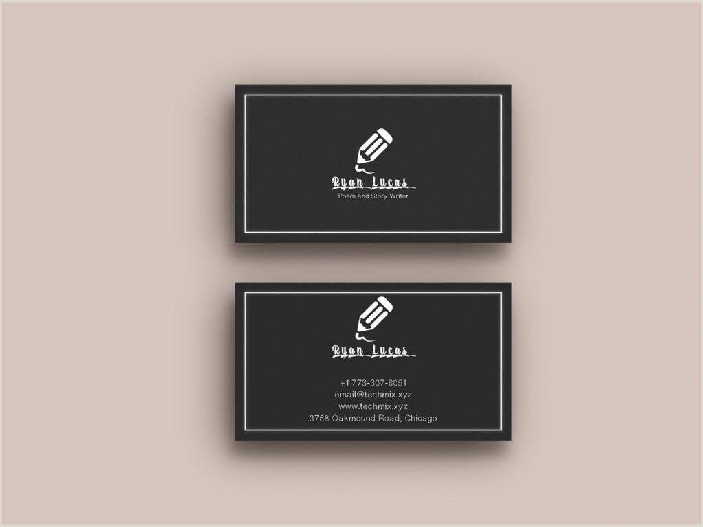Business Cards For Writers Examples 5 Best Writer S Business Cards 2020