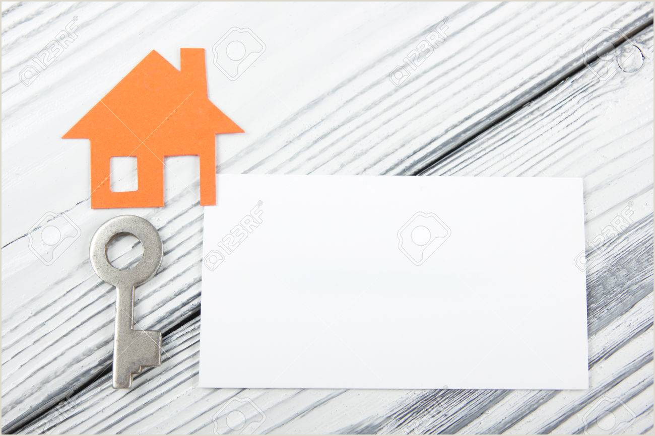 Business Cards Shaped Like A House Blank Business Card With House Figure Real Estate Concept Top