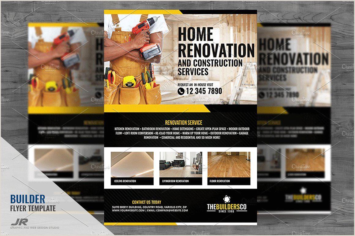 Business Cards Unique Renovation Construction Construction And Builder Flyer