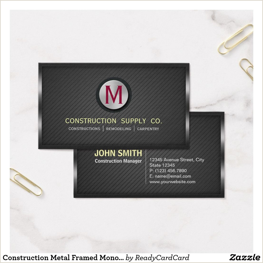 Business Cards Unique Renovation Construction Metal Framed Monogram Twill Material Business