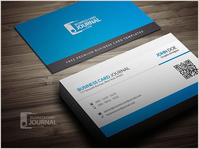 Business Cards With Unique Codes Blue Corporate Business Card Template With Qr Code