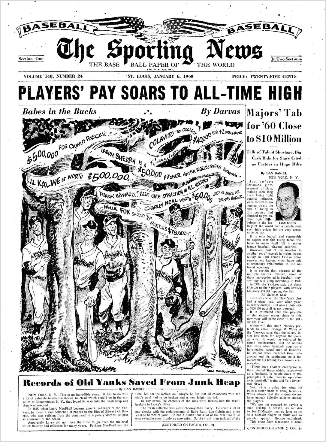 Business Crds The Sporting News 01 06 1960 By Mexico Sports Collectibles