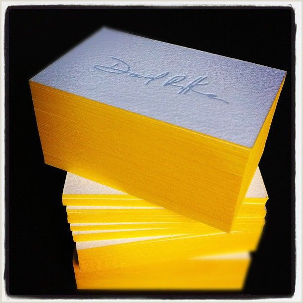Business Crds These Bright Yellow Edge Painted Letterpress Business Cards