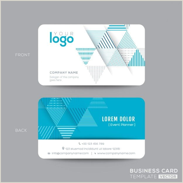 Business Name On Card Download Business Card With Blue Triangles For Free