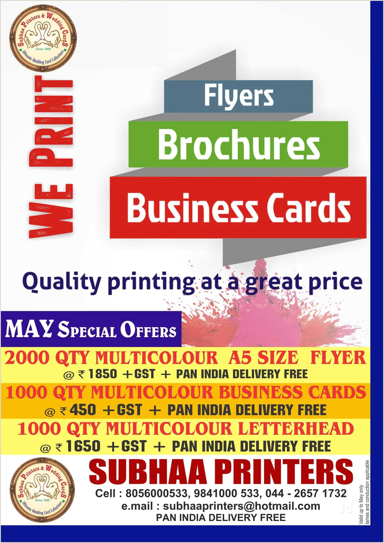 Businesses Cards Subhaa Printers Ambattur Printing Press In Chennai Justdial