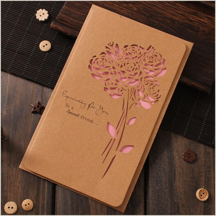 Businesss Cards Retro Greeting Card Carved Kraft Paper Hollow Butterfly Business Holiday Birthday Wedding Flower Shop Card With Envelope Greeting Birthday Cards