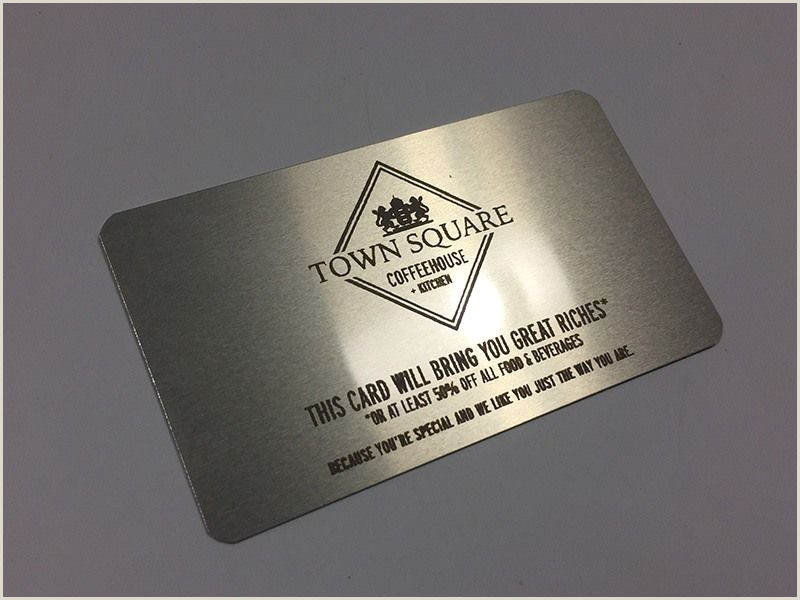 Busniss Cards Business Card On A Silver Metal That S Laser Engraved